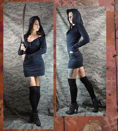 Eco  hooded Henley dress black sweatshirt pocket dress handmade bamboo made to order