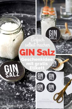THE gift idea for gin fans! With freebie labels for gin gifts - Ginsalz – homemade! THE gift idea for gin fans! With freebie labels for gin gifts – friends blo - Diy Gifts For Christmas, Valentine Day Gifts, Christmas Mood, Valentines, Fathers Day Presents, Xmas Presents, Gifts For Friends, Gifts For Him, Diy Pinterest