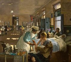 'The First Wounded, London Hospital, August 1914' John Lavery, 1915 #art   http://www.bbc.co.uk/arts/yourpaintings/paintings/the-first-wounded-london-hospital-august-1914-92595…