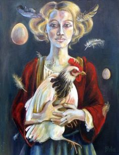 "Saatchi Art Artist Clara de Bobes; Painting, ""Catalina and chickens"" #art Oil On Canvas, Canvas Art, Original Paintings, Original Art, Chicken Painting, Fantasy Paintings, Cata, Figurative Art, Art Oil"