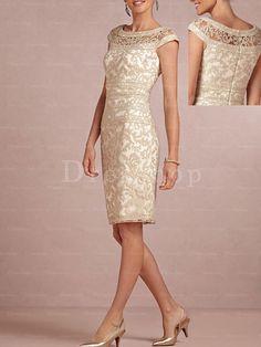 Precious Appliqued Natural Zipper Short Sleeve Mother Of The Bride Dresses - Mother of the Groom Dresses - Dresseshop.com.au