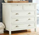 Coastal Shutter Wood Dresser, Almond White