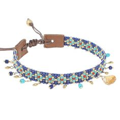 Chan Luu Blue Mix Charm Bracelet - Chan Luu seed beaded strand is crafted with gold nugget on a natural brown leather. Chan Luu, Leather Jewelry, Beaded Jewelry, Diy Jewelry, Handcrafted Jewelry, Handmade Beads, Charm Armband, Bead Loom Bracelets, Charm Bracelets