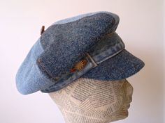 Denim Diva.  Blue Denim and Tweed Newsboy Cap.  Upcycled denim and new Scottish tweed fully lined with Liberty Print. $75.00, via Etsy.