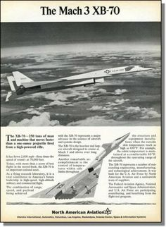 1965 The Mach3 XB 70 Valkyrie High Altitude Bomber North American Aviation Ad | eBay