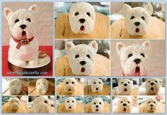 Perro Westie Fondant / Cake Tutorials / Cake Figurines / Westies Dogs