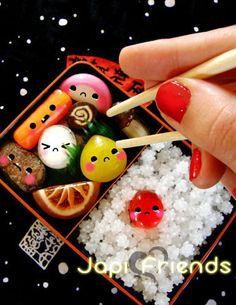 Because teenie tiny anthropomorphic sushi makes me smile.