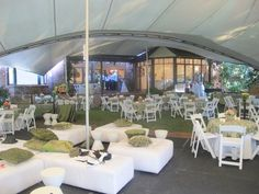 Stretch tent Garden Wedding - we could do this with our ottomans