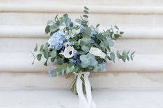 Cool Spring Blue Eucalyptus, Hydrangea, Thistle, Poppy and Bluebell Bouquet by Elizabeth Carter Design