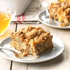 "Butterscotch Apple Cake Recipe -""My family often requests this easy old-fashioned cake for get-togethers—especially in the fall,"" writes Beth Struble from Bryan, Ohio. 13 Desserts, Apple Desserts, Delicious Desserts, Dessert Recipes, Dessert Ideas, Yummy Food, Apple Cake Recipes, Baking Recipes, Lemon Chess Pie"
