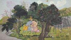 krishna with radha in a forest glade