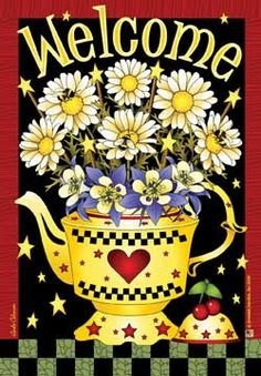 Jeremiah Junction 12 X 18 Welcome Garden Flag - Yellow Teapot Columbine daisy Yellow Teapot, Daisy, Welcome To The Group, Mailbox Covers, Hello Welcome, Cute Girl Wallpaper, Mary Engelbreit, House Flags, Flag Decor