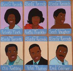 """Famille Atlantic Records. Peinture sur bois.""""100 familles"""". Laurent Jacquy. French Outsider."""