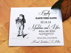 French Save the date cards  Frog Fabulous by sweetinvitationco, $50.00