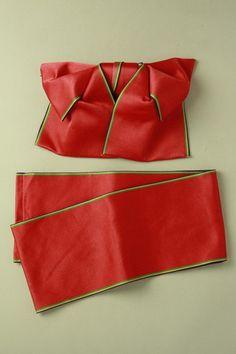 Red, 2 section tsukuri obi / シグナルレッド地 多色縞の縁取り柄 化繊二部式つくり帯#Kimono #Japan http://global.rakuten.com/en/store/aiyama/
