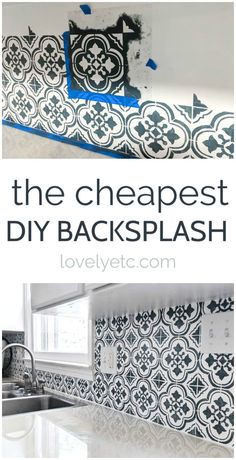 This DIY backsplash may be cheap, but it looks beautiful! Step by step instructions for painting your own kitchen backsplash and adding major style with a tile stencil. # DIY Home Decor rental The Cheapest DIY Backsplash Ever - Lovely Etc. Architecture Renovation, Home Renovation, Home Remodeling, Diy Kitchen Remodel, Kitchen Redo, Kitchen Design, Kitchen Renovations, Kitchen Ideas, 10x10 Kitchen