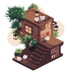 Minecraft Pixel Art, Minecraft Creations, Minecraft Designs, Minecraft Houses, Fantasy House, Fantasy Art, Birthday Icon, Pink Cafe, Isometric Art