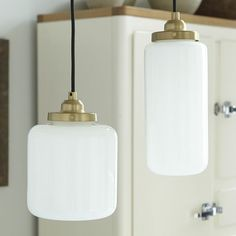 Glass-and-brass pendant lights from West Elm