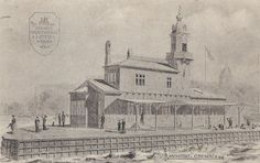 Havneslottet i Stege, opført 1909 efter Cajus Novis tegning. Nedrevet 1965. Kilde: Olsens postkortsamling.  Der er en artikel om Cajus Novi på Wikipedia, https://da.wikipedia.org/wiki/Cajus_Novi