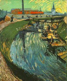 Canal with Women Washing | Vincent Van Gogh | oil painting #vangoghpaintings