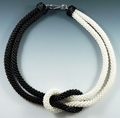 Black and white bead Kumihimo - Beaded Swan Jewelry