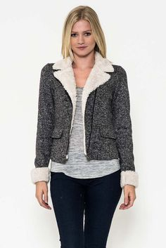 Fur Lined Collar Heather Knit Jacket - get it now at kyootklothing.com