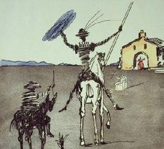 El Quijote por Salvador Dalí. Dibujo muy bien animado y que expresa cuando Don Quijote parte en busca de aventuras.