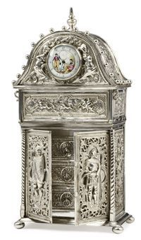 A GERMAN SILVER JEWELLERY BOX IN THE FORM OF A WARDROBE  MARK POSSIBLY THAT OF NERESHEIMER, HANAU, CIRCA 1900