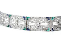 Exquisite Art Deco Gem-Set Platinum Bracelet - The Three Graces