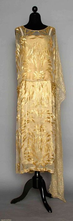 Gold Beaded Evening Dress, Early 1920s, Augusta Auctions, April 9, 2014 - NYC