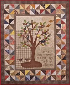 Primitive Folk Art Quilt Pattern - The Bird Tree Applique Quilt Pattern Primitive Quilts, Primitive Folk Art, Primitive Decor, Quilting Projects, Quilting Designs, Quilting Ideas, Applique Quilt Patterns, Applique Ideas, Applique Designs