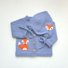 Lavander baby set knit baby fox set violet merino baby by Tuttolv, $59.00