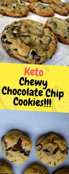 Keto Chewy Chocolate Chip Cookies – Perfectly chewy and gooey, low carb chocolate chip cookies… Ingredients 2 large teaspoon pure vanilla extract ⅓ cup granulated erythritol… Low Carb Cookies, Keto Chocolate Chip Cookies, Low Carb Sweets, Baking Chocolate, Brownie Cookies, Desserts Keto, Keto Friendly Desserts, Keto Snacks, Keto Friendly Chips