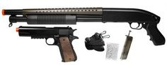 TSD T-Rex Shotgun & M1911 Combo Pack airsoft gun by TSD. $37.95. Prepare for battle with the the T-Rex Shotgun & M1911 Combo Pack . This awesome kit features two high-powered, skirmish ready airsoft weapons. The TSD Tactical Series Law Enforcer is a durable pump action shotgun that looks just like the real weapon carried by law enforcement personnel across the country. The shotgun features a 14 Rd magazine, a shot velocity of 320 fps (using .20g BBs), and an adjustable h...