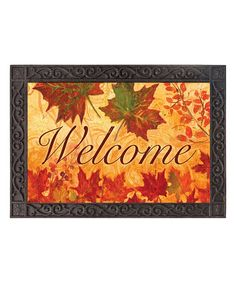 This Fall Leaves 'Welcome' Doormat by Evergreen is perfect! Welcome, Evergreen, Autumn Leaves, Sweet Home, Doormat, Invitations, Seasons, Holiday Decor, Painting