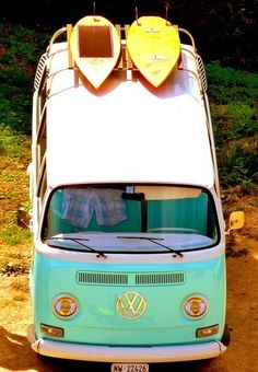 New mobile surf home for the summer: '50s Volkswagen Camper Van