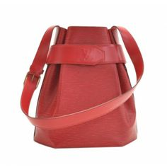 Pre-owned Louis Vuitton Sac Depaule PM Red Epi Leather Shoulder Bag, perfect for a casual chic look.