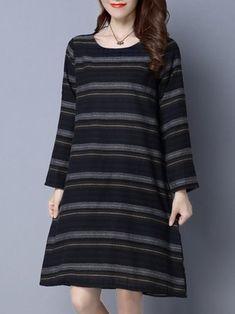 Vintage Stripe O-Neck Long Sleeve Loose Women Cotton Dress