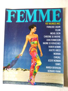 FEMME womens fashion magazine - July August 1985 summer holiday issue - French 80s vintage French high fashion magazine including editorials & ads published in July/August 1985 by Filipacchi / COGEDIPRESSE editions, written in French the second picture is of the back page, circa 130 pages, the magazine is complete some traces of use on the covers good condition  length circa 30 cm (= 11.8 inches) width circa 23 cm (= 9.1 inches)  more photos on request   PLEASE READ M...