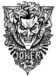 "herochan: "" Joker Created by Olya Zhidkova "" Der Joker, Joker Und Harley Quinn, Joker Art, Joker Clown, Joker Tattoos, Clown Tattoo, Joker Images, Joker Pics, Turkish Tattoo"