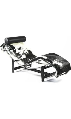 Fine Mod Imports Adjustable Pony Chaise Lounge, Black and White Best Price