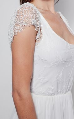 This sleeve is amazing    [Beautiful beaded capped sleeve Ivory lace and silk wedding dress. $999.00, via Etsy.]