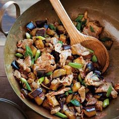 STIR-FRY: Toss eggplant with tender pieces of pork in a fiery chili sauce.