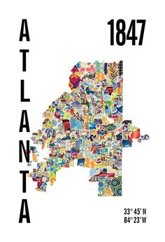 Atlanta Map Print Atlanta Map, Atlanta City, Us Map, State Map, House Warming, Engagement, Auburn, Maps, Georgia