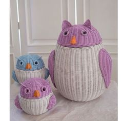 Для дітей: owl kid and momma owl Paper Weaving, Weaving Art, Loom Weaving, Willow Weaving, Basket Weaving, Rattan Basket, Wicker, Owl Kids, Baby Baskets