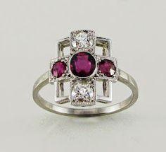 Art Deco, platinum, ruby and diamond ring