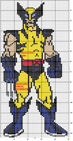 X-Men Wolverine perler bead pattern by Mauricette Beaded Cross Stitch, Cross Stitch Charts, Cross Stitch Designs, Cross Stitch Embroidery, Cross Stitch Patterns, Crochet Pixel, Crochet Chart, Pearler Bead Patterns, Perler Patterns
