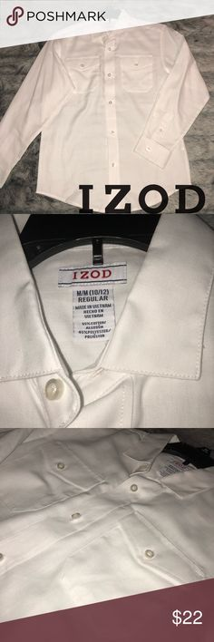 🚨IZOD Boys' White LS Button Down Shirt Sz M Only worn once for family photos! My sons literally grew overnight and have grown out of these! Like new! Cleaned and ready to ship! Nice Snow White long sleeve button down with front chest pockets and rounded hem. 1 Size M (10/12) and 1 Size L (14/16).  Can be worn as casual or dressy. No holes, stains, loose seams or buttons! See last 3 pics for the Size L! EXCELLENT Used condition. Price is per shirt. Please ask if you have additional…