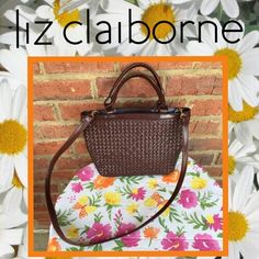 "Liz Claiborne brown woven double strap purse Rich chocolatey brown hand bag or shoulder bag, in EXCELLENT condition.  Detachable straps with gold hardware. Strap drop 21"". 10"" across and 7.5"" tall Liz Claiborne Bags Shoulder Bags"