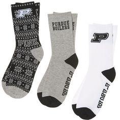 PINK Purdue University 3-Pack Crew Socks ($18) ❤ liked on Polyvore featuring intimates, hosiery, socks, black, crew socks, crew cut socks, crew length socks, pink hosiery and pink socks
